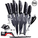 OOU Pro Kitchen Knife Set, 15 Pieces High Carbon Stainless Steel Chef Knives with Acrylic Stand, Full Tang Blade & Ergonomic Handle, Scissors, 6 Steak Knives, Bonus Knife Sharpener and Bear Claws Paws
