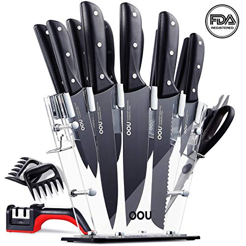 Pro Steak Knife Set - OOU Pro Kitchen Knife Set, 15 Pieces High Carbon Stainless Steel Chef Knives with Acrylic Stand, Full Tang Blade & Ergonomic Handle, Scissors, 6 Steak Knives, Bonus Knife Sharpener and Bear Claws Paws