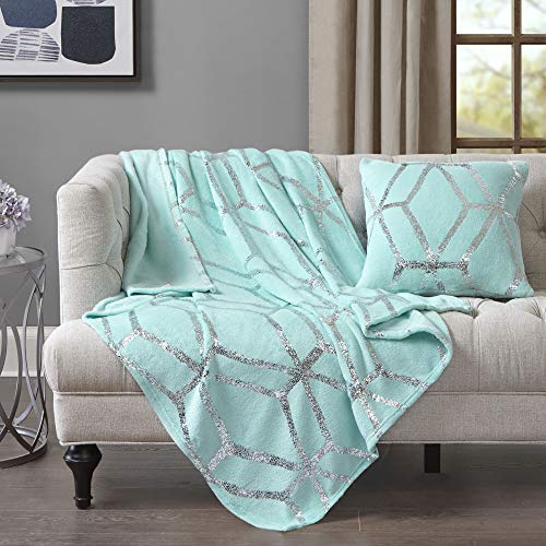 (Comfort Spaces Microplush Shiny Metallic Print Blanket with Matching Pillow Cover, Light-Weight Soft Throws for Couch, Bed, 50