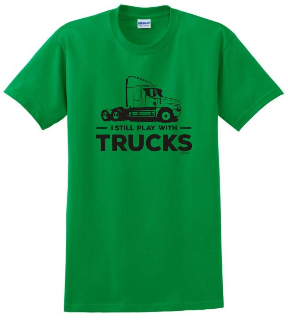 I Still Play with Trucks, Tractor Trailer T-Shirt Large Green