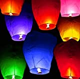 LinTimes Heart Shape Sky Lanterns, Pack of 10 Pcs Mixed Col