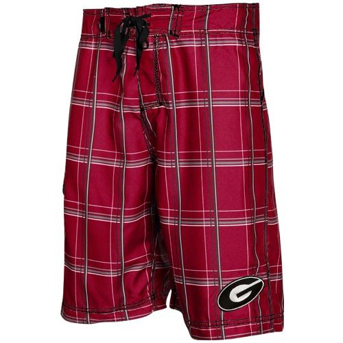 NCAA Georgia Bulldogs Red Plaid Slugger Boardshort (38) (Georgia Bulldogs Ncaa Drawstring)