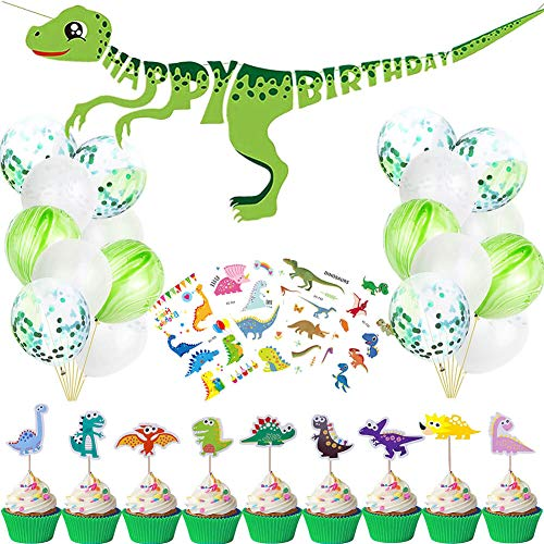 Little Dinosaur Party Decorations - Dinosaur Happy Birthday Banner, Latex Confetti Balloons, Dinosaur Cake Toppers with Tattoo Stickers for Dino Jungle Jurassic Dinosaur Birthday Party Supplies