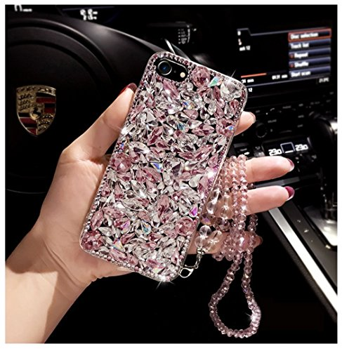 Tianyuanxuan Iphone 7/8 Plus Case Acrylic Crystal Rhinestone Bling Diamonds Ultra Clear Cover Soft Shell for Iphone7/8 Plus-Pink