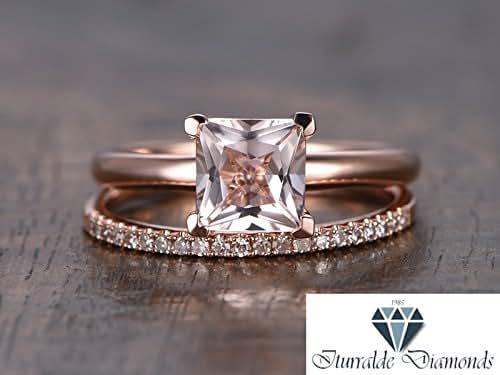 Amazon.com: 14k Princess Cut Morganite Engagement Ring