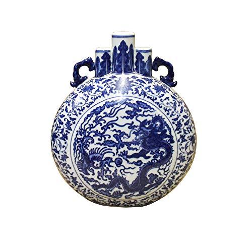 (Chinese Blue White Porcelain Dragon Phoenix Theme Flask Vase Acs4100)