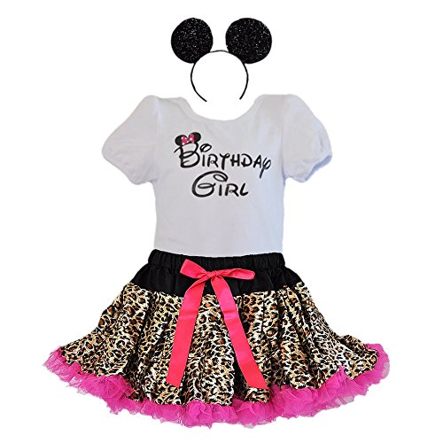 Birthday Girl T-Shirt Leopard/Zebra Print Tutu Ruffle Trim & Headband 3 Pcs Set (Age 6-LPH-hp)