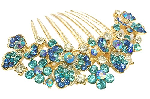 AnVei-Nao Womens Luxury Bohemia Flowers Rhinestones Hair Combs Accessories For Girl Blue