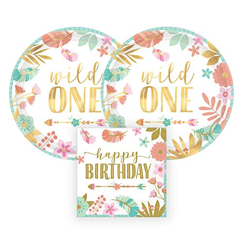 Amscan Wild One Gold Metallic First Birthday Party Paper Plates and Paper Napkins, 16 Servings, Bundle- 3 Items