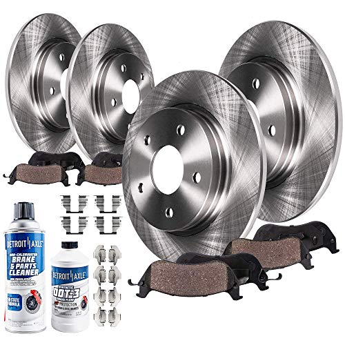 Detroit Axle - All (4) Front and Rear Disc Brake Rotors w/Ceramic Pads w/Hardware & Brake Cleaner & Fluid for 2000 2001 Infiniti I30 Built After 10/2000