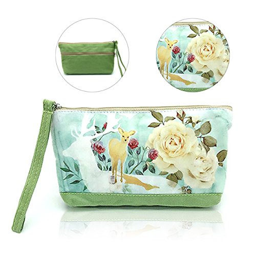 Canvas Coin Purse, Pershoo Ladies Vintage Cotton Money Bag Change Wallet Makeup Bag Portable Phone Bag, Cartoon Zippered File Bags Lovely Deer Document Holder Green Multi-purpose Storage + Wrist Strap