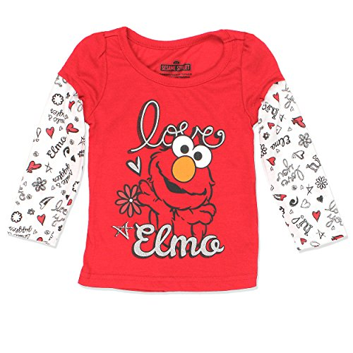 Sesame Street Elmo Girls Long Sleeve Tee (3T, Red) (Girls Sesame Elmo Street)
