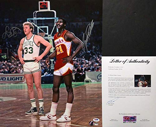 (Larry Bird & Dominique Wilkins Signed Basketball 16x20 Photo Z07023 - PSA/DNA Certified - Autographed NBA Photos)