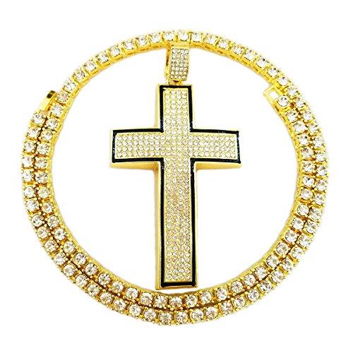 (HH Bling Empire Mens Iced Out Hip Hop Gold Artificial Diamond Ankh Cross cz Tennis Chain 22 Inch (Tennis Chain & Cross)