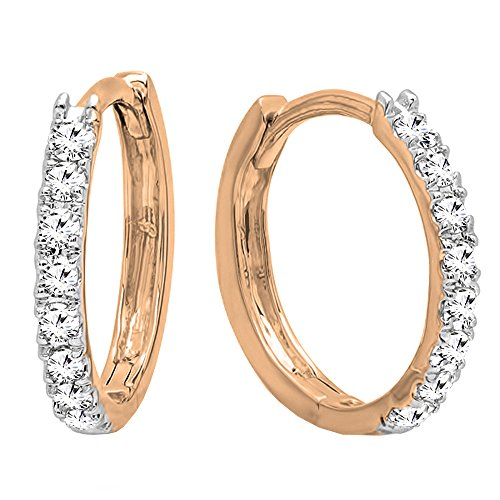 0.20 Carat (cttw) 14K Round White Diamond Ladies Huggies Hoop Earrings, Rose Gold ()