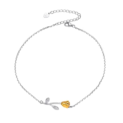 80a1a5716cb Image Unavailable. Image not available for. Color  Silver Anklets for Women  Girls 925 Sterling Silver Dainty Chain Gold Rose Flower Charm ...