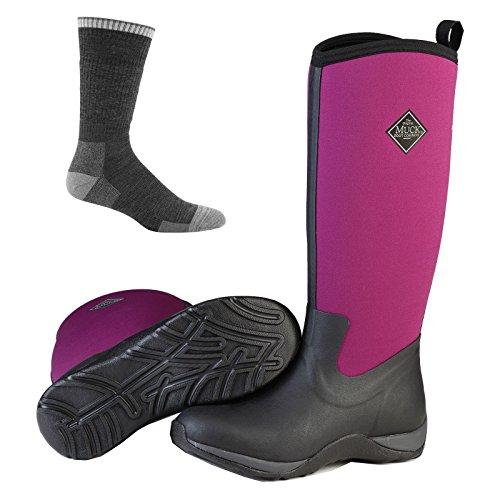 Muck Boot Kvinna Arktiska Äventyr Tall Snö Boot Black / Flox Purple W / Strumpor