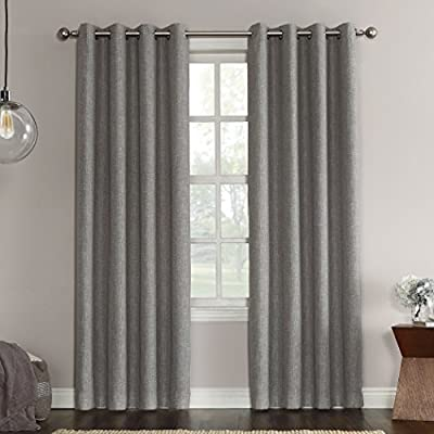 "Sun Zero Gilby Woven Texture Energy Efficient Single Curtain Panel, Gray, 52"" x 63"" - Room darkening technology significantly darkens the room, ideal for limiting unwanted light Energy efficient design reduces energy lost through your windows by up to 20% Thermal properties help keep summer heat and winter chill out of your home - living-room-soft-furnishings, living-room, draperies-curtains-shades - 51IT Qh17PL. SS400  -"