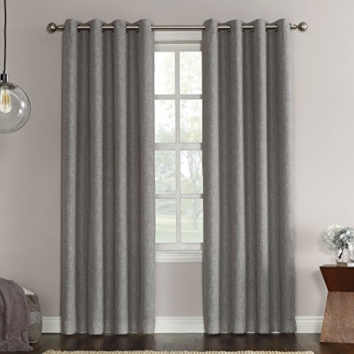 Cheap Sun Zero Gilby Woven Texture Energy Efficient Single Curtain Panel, Gray, 52″ x 63″
