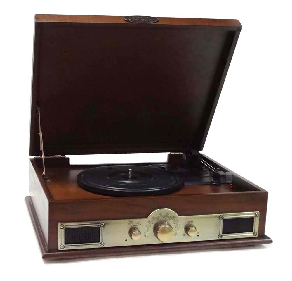PYLE-HOME PTT30BK Bluetooth Vintage Classic Style Turntable Wireless Music Streaming, AM/FM Radio, USB Record Ability, AUX-3.5mm Input Sound Around