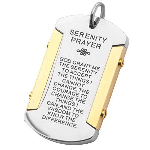 Gods Wisdom Serenity Prayer 316L Steel Mens Dog Tag Penda...