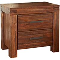 Modus Furniture 3F4181 Meadow Solid Wood Nightstand, Two-Drawer, Brick Brown