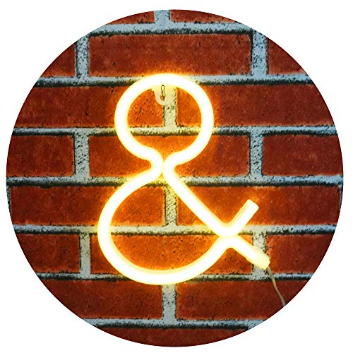 Obrecis Light Up LED Neon Letter Sign Ampersand Wall Decorative Neon Lights Warm White Alphabet Marquee Letter Lights Night Lamp for Home, Living Room, Birthday Wedding Party Decor - &