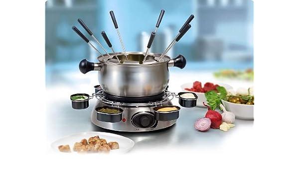 Acero inoxidable Fondue-Set para 8 personas (versandfuxx-tiovivo, 1300 Watt, olla 1 litro, 8 tenedores de fondue): Amazon.es: Hogar