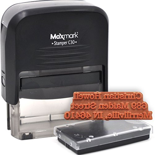 Custom Self Inking Return Address Rubber Stamp - Includes Extra Replacement Pad
