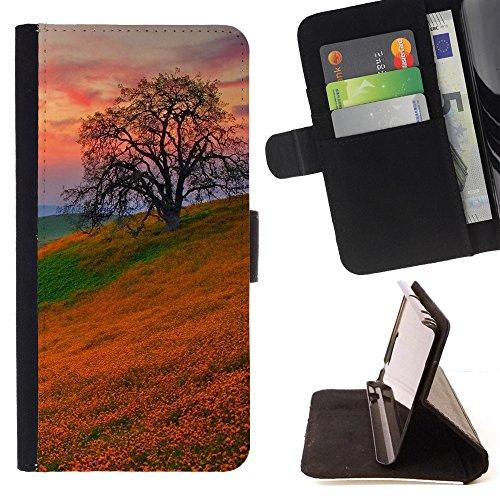 God Garden - FOR Apple Iphone 5C - Orange Flowers Field - Glitter Teal Purple Sparkling Watercolor Personalized Design Custom Style PU Leather Case Wallet Fli