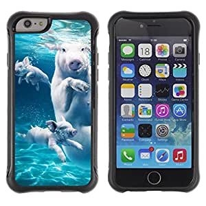 Hybrid Anti-Shock Defend Case for Apple iPhone 6 4.7 Inch / Swimming Pigs