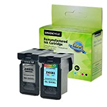 GREENCYCLE 1 Pack PG240XL Black and 1 Pack CL241XL Tri-Color High Yield Remanufactured Ink Cartridge Set with new chip Compible with Canon PG-240XL CL-241XL 240XL 241XL use in Canon For Canon PIXMA MG2120 MG2220 MG3120 MG3122 MG3200 MG3220 MG3222 MG3500 MG3520 MG3620 MG4120 MG4220 MX372 MX392 MX430, MX432 MX439 MX450 MX452 MX459 MX472 MX512 MX520 MX522 MX532 ?Total 2 Pack,Show Ink Level?