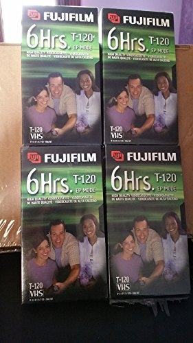 FUJUFILM 6 HOURS STANDARD T-120 VHS HIGH QUALITY VIDEOCASSETTE (4-PACK)