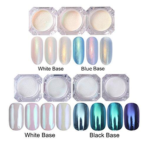 NICOLE DIARY Mermaid Pearl Powder Mirror Effect Chrome Pigment Set - 3 Boxes Shining Nail Glitter Pearl Powder + 4 Boxes Blue Manicure Nail Art Glitter Chrome Pigment Decoration by NICOLE DIARY
