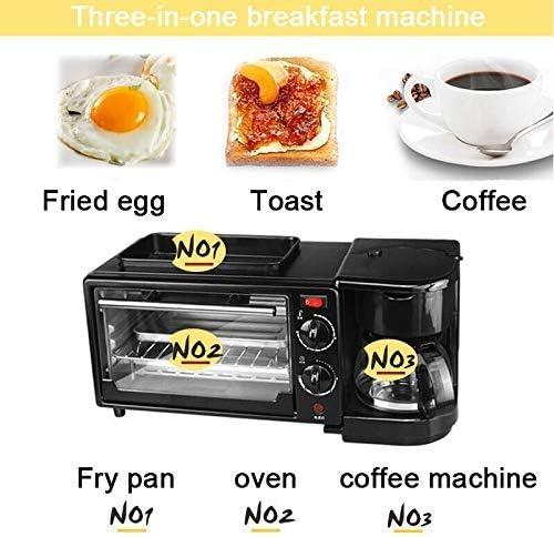 Électrique 3 IN 1 Petit Déjeuner Machine, Multifonction Mini Machines à Pain Goutte Américain Cafetière Pizza Four Œuf Omelette Poêle Grille-Pain