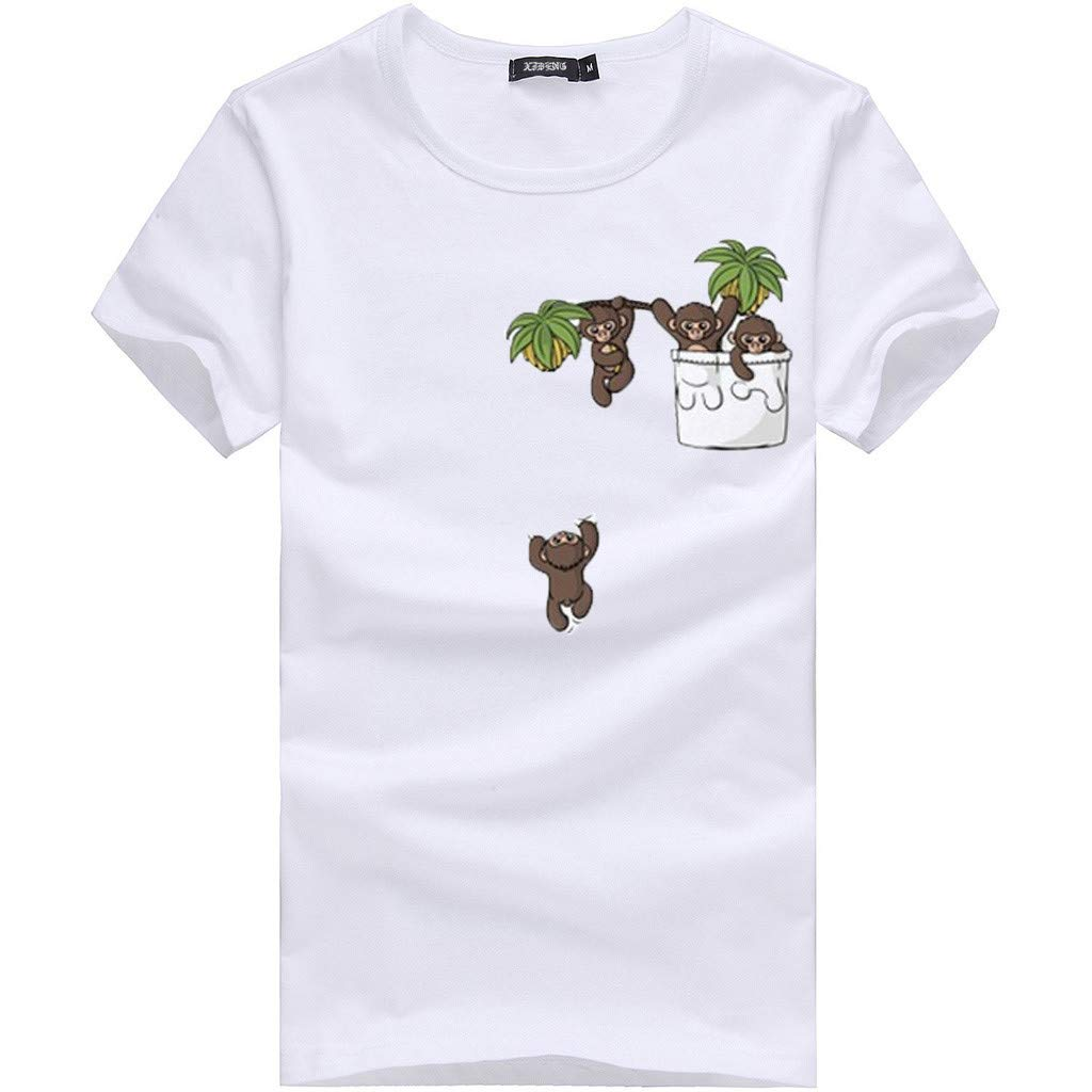 Willsa Mens Shirts, Unisex Solid Color Cartoon Printing Tees Shirt Short Sleeve Casual Couples Tops Blouse White by Willsa (Image #2)