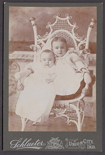 Toddler & baby in fancy wicker chair cabinet by Schleuter Union City IN 1890s