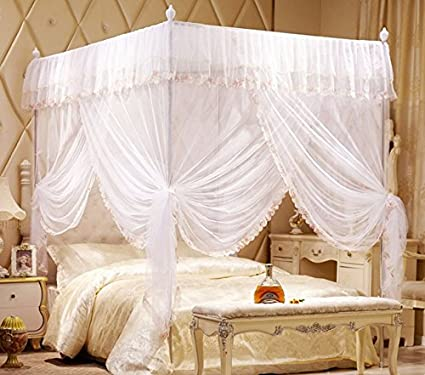 Amazon.com: Princess 4 Corners Post Bed Curtain Canopy Mosquito ...