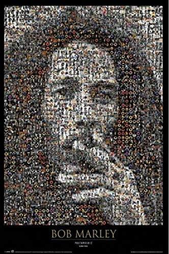 ポスター ボブマーリーの肖像画の喫煙雑草のモザイク音楽 A4サイズ [インテリア 壁紙用] 絵画 アート 壁紙ポスター