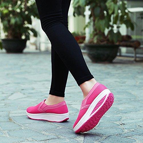 Sneakers Casual Stringate Tennis Zeppa Scarpe Heeled Rosa1 da Ginnastica Sportive Running Piattaforma KUAIKUHEI Fitness Donna Outdoor Bn6q4nA