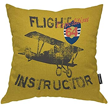 Moslion Airplane Pillows Vintage Fight Instructor Expedition Plane Fly in Sky Air Yellow Black Throw Pillow Cover Decorative Square Accent Cotton Linen Home Pillow Case 18X18 Inch