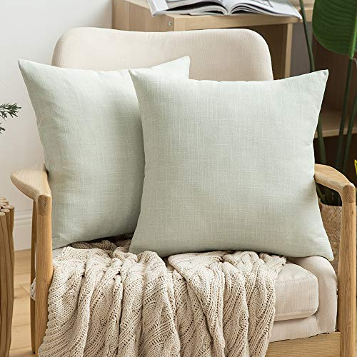 MIULEE Pack of 2 Decorative Linen Burlap Pillow Cover Square Solid Throw Cushion Case Christmas Decoration for Sofa Car Couch 18x18 Inch 45x45 cm Off White (Pillows Throw Off White)