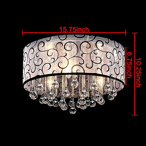 DINGGU™ 4 Lights Flush Mounted Modern Drum Ceiling Light Chandelier Lamp Fixtures Rain Drop Decoration by DINGGU (Image #5)