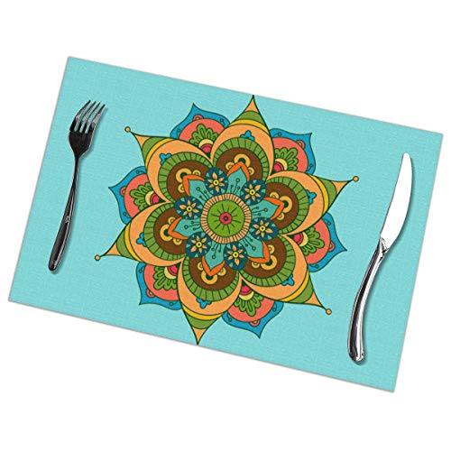 GGlooking Heat-Resistant Placemats Mandala Clip Art Dining Table Mats Washable Coasters Kitchen Pad Cup Plant Set of ()