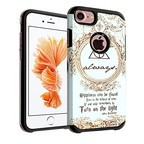 (Deathly Hallows iPhone 8 Case, DURARMOR Dual Layer Hybrid Shockproof Slim Fit Armor Case Cover iPhone 6 / 6s, iPhone 7, iPhone 8)