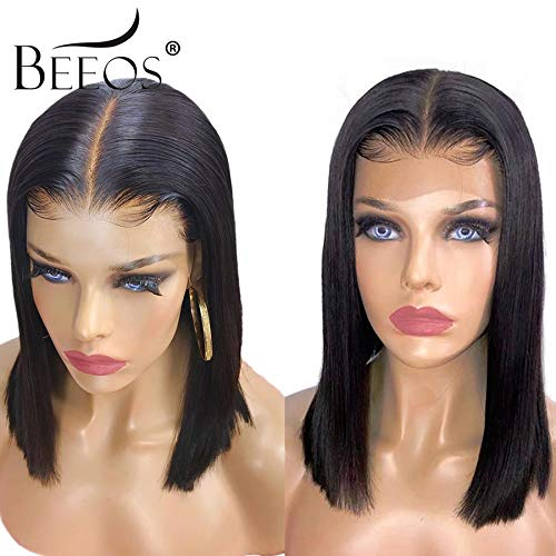 BEEOS 13x6 Short Bob Lace Front Human Hair Wigs for Black Women, 150% Density Pre Plucked and Bleached Knots Natural Hairline Brazilian Remy Bob Wig (10 inch) by BEEOS (Image #2)