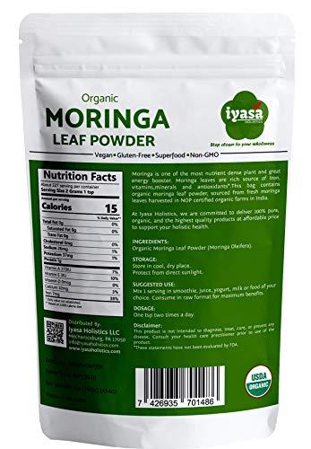 Premium Organic Moringa Leaf Powder, Moringa Oleifera 100% USDA Organic, Raw Superfood and Multi-Vitamin,Rich Energy Booster,Resealable Pouch