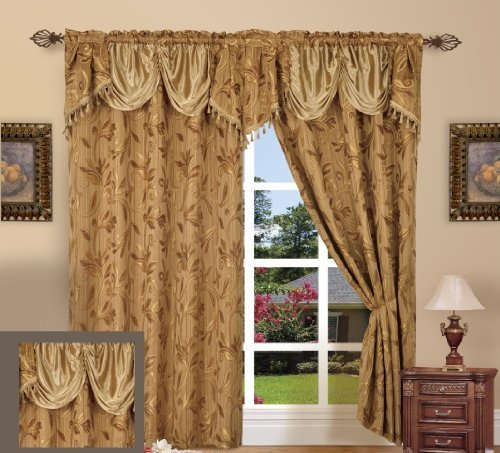 Elegance Linen Beautiful Design Jacquard Curtain Panels 54inch X 84inch +18 with Attached Valance