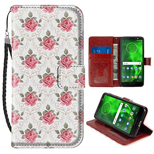 (Moto G6 Plus Wallet Case, Flower Romantic Artwork Shabby Chic Flowers Nature in a Frame with Leaves Roses Print Pink and Green PU Leather Folio Case with Card Holder and ID Coin Slot)