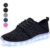 EQUICK  [Patrocinado] Kids luz LED arriba Zapatillas Moda Tejer los niños transpirable Casual Zapatillas de correr (Little Kid/Big Kid)